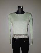 H&M cieniutki sweterek XS koronka miętowy melanż...