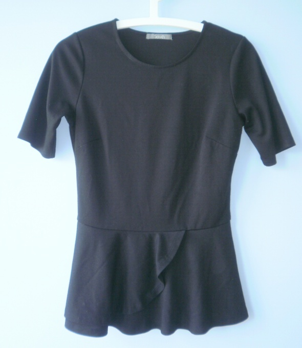 Bluzki Asos bluzka czarna baskinka South peplum