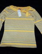 Wygodna bluzka w paski 42 żółto szara
