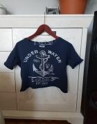 Bluzka top marynarski styl Bershka kotwica