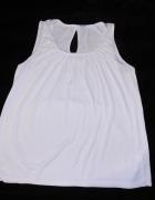Biała bluzka ozdobny dekold łezka 4244