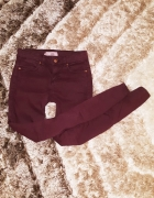 Topshop rurki XS S Leigh burgund W26 L32 jeansy