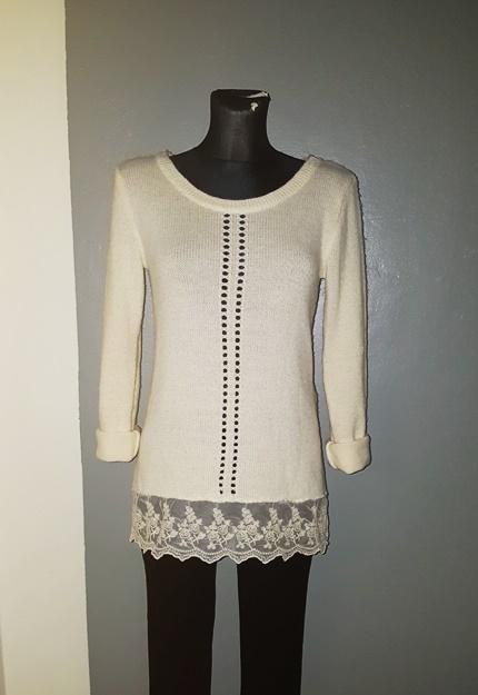 Gina Tricot sweterek 34 XS beżowy wstawka koronka