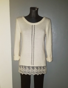 Gina Tricot sweterek 34 XS beżowy wstawka koronka...