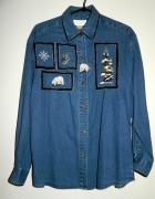 jeansowa haftowana koszula vintage