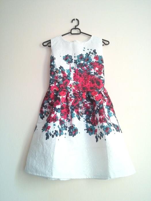 Suknie i sukienki Sukienka żakardowa wyciskany materiał kwiaty elega