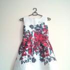Sukienka żakardowa wyciskany materiał kwiaty elega