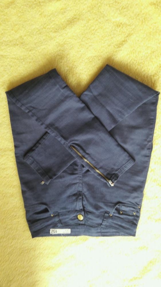 Spodnie granatowe rurki zipy