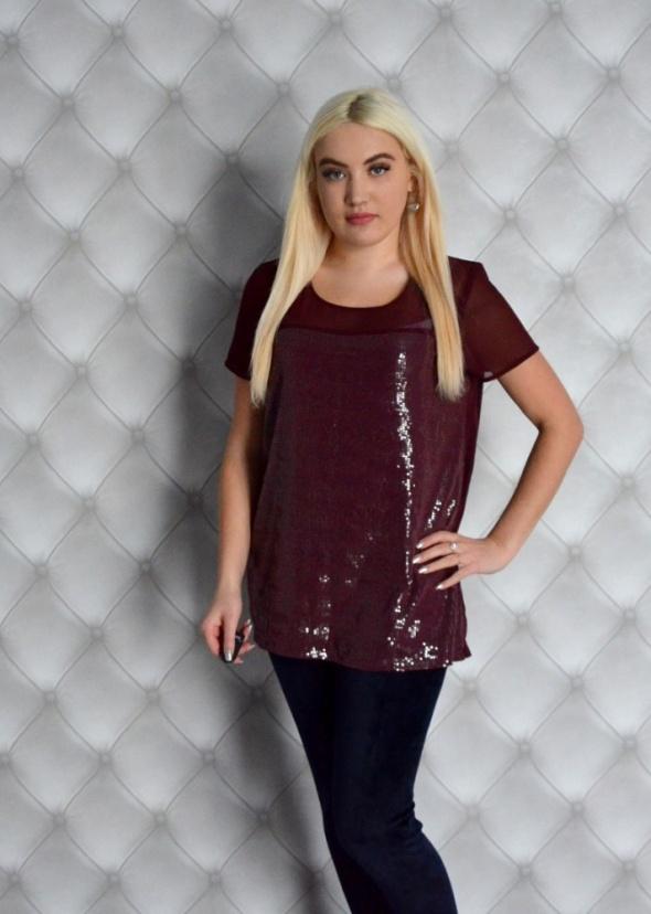 Bluzki Bordowa bluzka z delikatnmi cekinami nowa