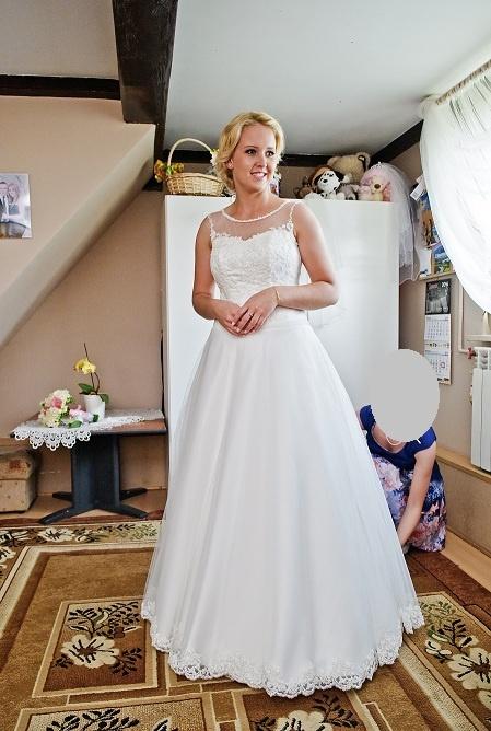 Suknia ślubna M L 38 40 koronka tiul