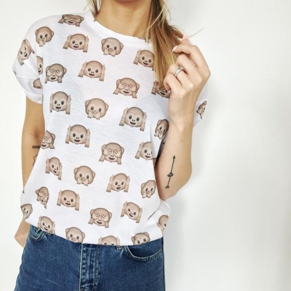 Tshirt małpki małpy instagram emotikon S