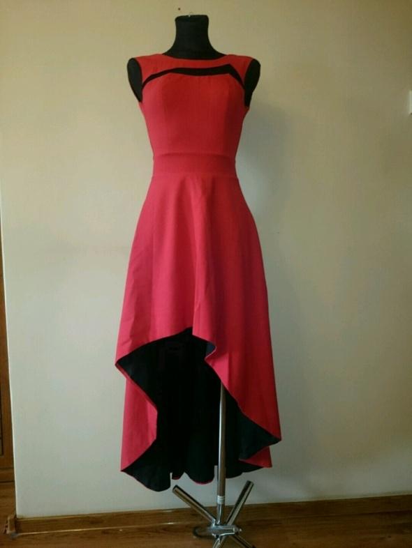 Suknie i sukienki CZERWONA SUKIENKA WESELE BAL XS NA S