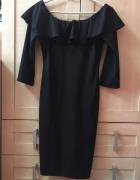 sukienka czarna falbana hiszpanka off shoulder