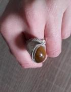 Chinka srebrny pierścionek z sekretnikiem filigran...
