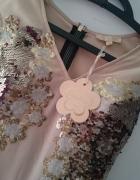 Nowa sukienka z cekinami beżowa wieczorowa