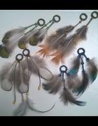 Kolczyki łapacz snów indiańskie boho pióra