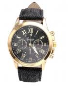Zegarek damski Geneva czarny złoty rzymskie...