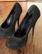 Buty szpilki czarny zamsz
