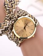 Zegarek damski Genewa wstążka kokardka brązowa beż