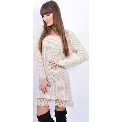 Tunika sweter beżowy z koronką UNI
