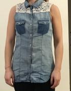Jeansowa koszula bez rękawów
