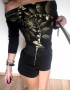 bluzka czarna odkryte ramiona złote ozdoby S