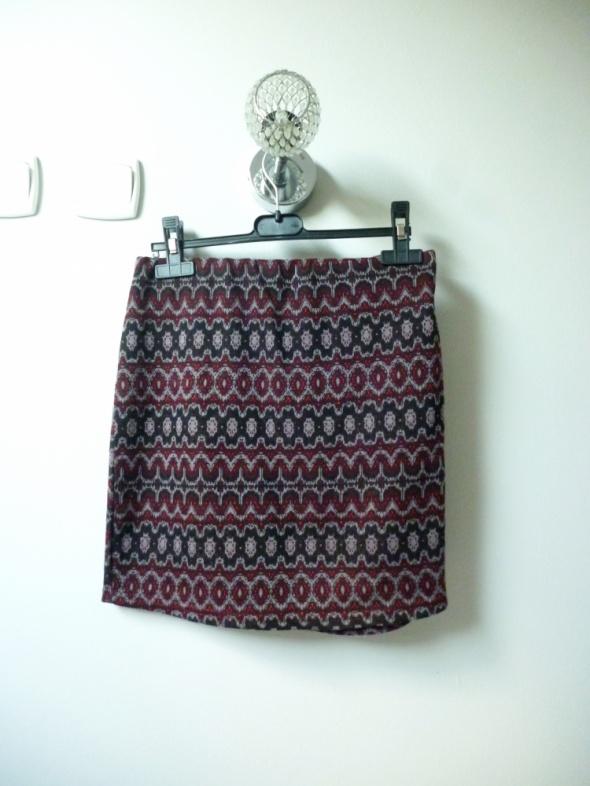 Spódnice Fioletowa spódnica ciepła na jesień zimę we wzorki
