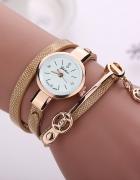 Zegarek damski długi pasek beżowy złoty