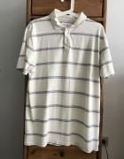 Kremowa koszulka polo w paski M...
