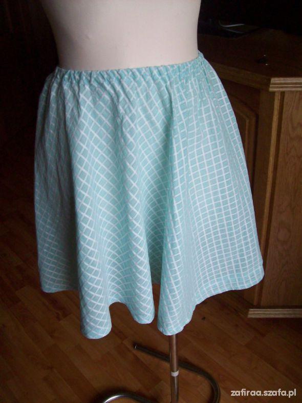 Spódnice Seledynowo biała letnia spódniczka L XL