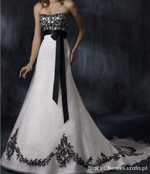 suknia ślubna czarne cekiny