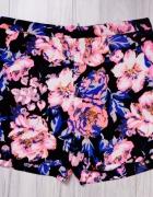 Czarne krótkie spodenki szorty neonowe kwiaty s m