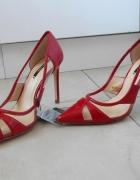 Zara nowe czerwone szpilki transparentne szpic 36