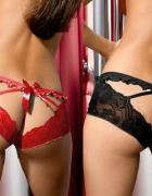 Szorty damskie z zalotną kokardą czarne czerwone S