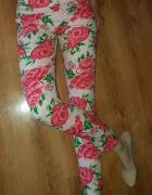 Nowe Spodnie w kwiaty wysoki stan S...