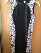 Czarna sukienka w panterkę