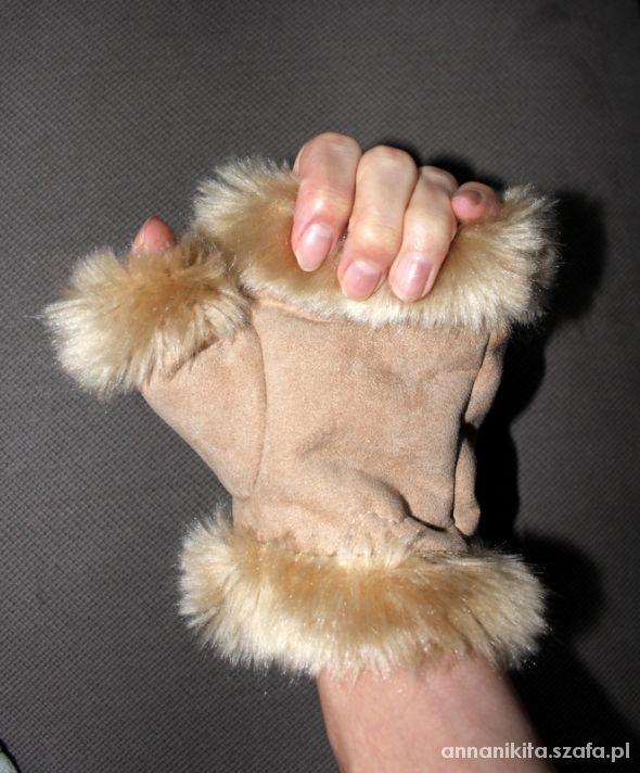 Rękawiczki mitenki kożuchowe z futerkiem...