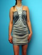 Sukienka satynowa M L szara studniówka komunia