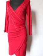 Bordowa kopertowa elegancka sukienka r SM