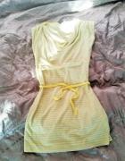 Żółto szara tunika sukienka w paseczki z wiązaniem