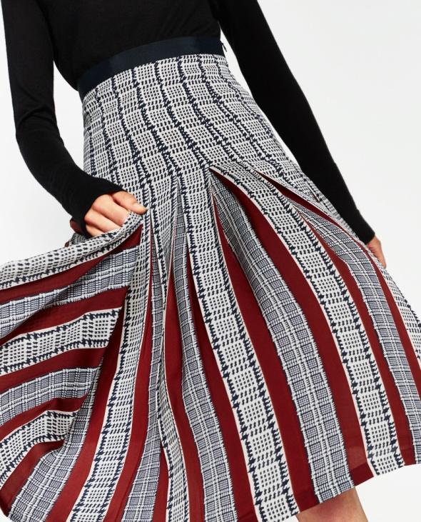 Zara nowa spódnica midi plisowana kratka wstawki w Spódnice