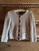 Sweter sweterek kardigan na guziki wełniany krótki