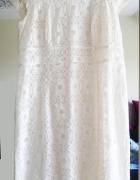 Sukienka na wesele sylwester koronka kremowa 46 XL
