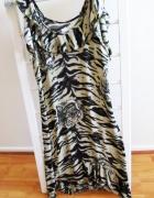 Sukienka asymetryczna wesele animal print tygrys S
