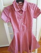 Sukienka dla dziewczynki kratka czerwona 8 9 lat