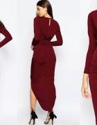Bordowa asymetryczna sexi sukienka