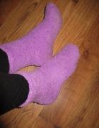 Skarpetki fluffy ciepłe puszyste fioletowe