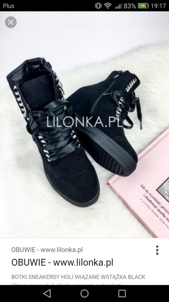 Botki na koturnie sneakersy że wstążką czarne...
