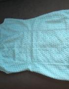 Błękitna prążkowana sukienka 36
