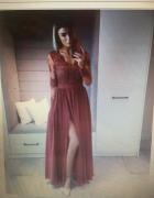 Śliczna bordowa długa sukienka...